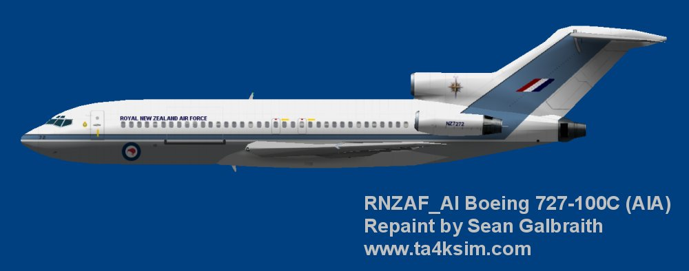Repaint Boeing 727-100C - Royal New Zealand AF 1990's (AIA